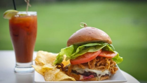 cheeseburger and bloody mary at waldorf golf club