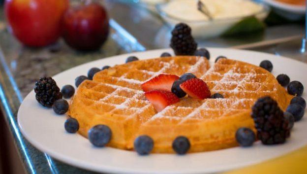 enjoy a Waldorf Waffle from Oscar's Brasserie