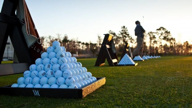 golf balls and players