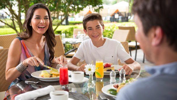 Family Eating Breakfast at Oscar's