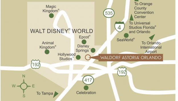 Waldorf Astoria Orlando area map