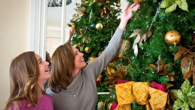 Mom and Daughter with Christmas Tree