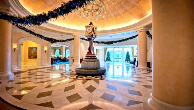 Lobby Decorated for Holidays