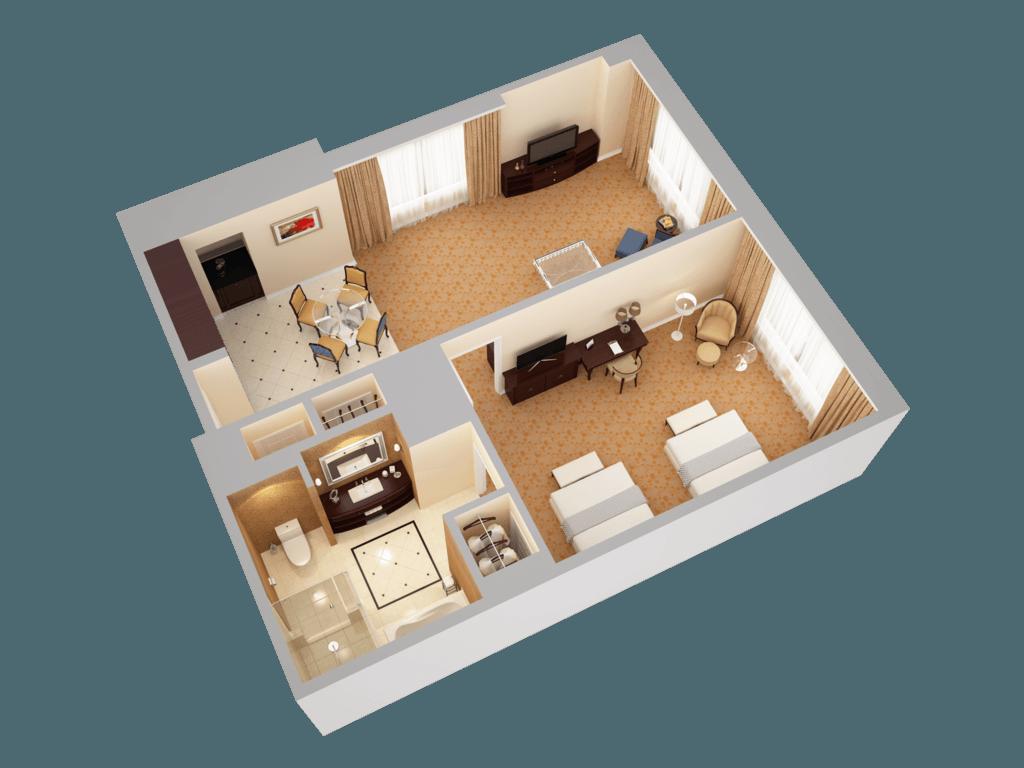 waldorf astoria orlando 3d floor plans double queen deluxe view 2