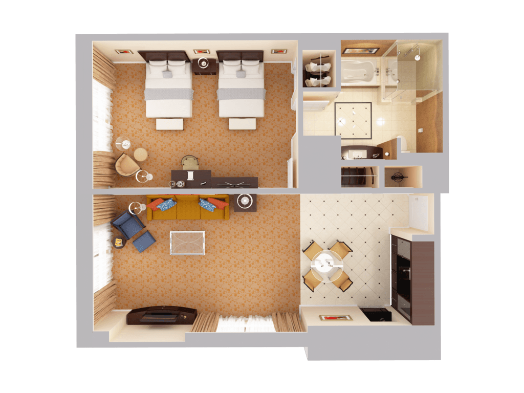 Double bed top view png - Amenities