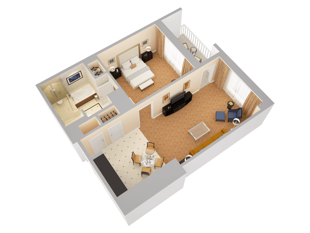 deluxe suite with balcony view 2 - 3d Floor Planning