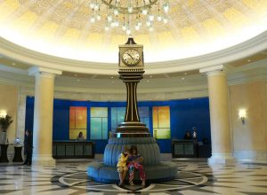Waldorf Clock in Lobby with Children