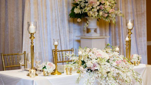 Beautiful flower wedding reception details