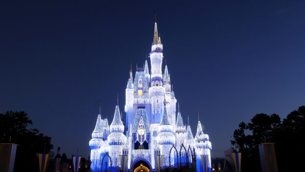 holiday lights at cinderella's castle