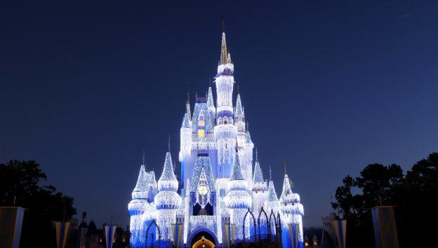 holiday lights at cinderella's castle