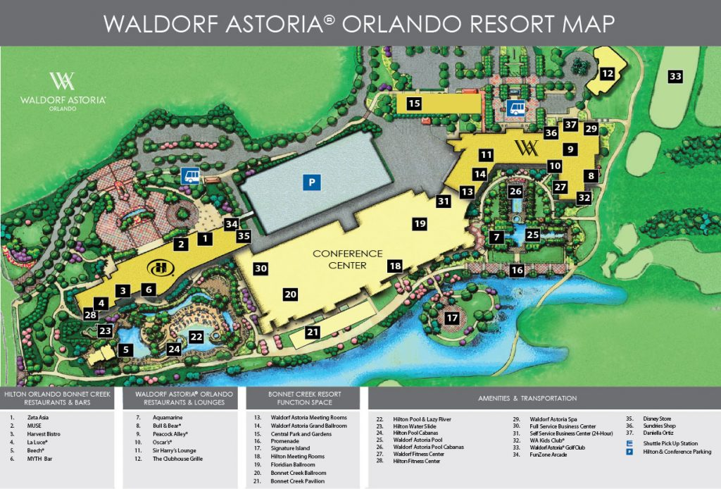 Waldorf Astoria Orlando Resort Map